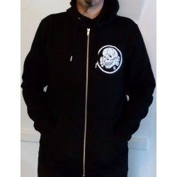 Hoodie with Zipper - Black with White Totenkopf6